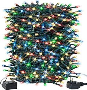 Christmas Lights Outdoor 105FT 300LED String Lights Waterproof Plug in LED Lights Color Changing for Christmas Tree/ Bedroom/ Party Decoration with 8 Modes Memory Function 100% UL Listed