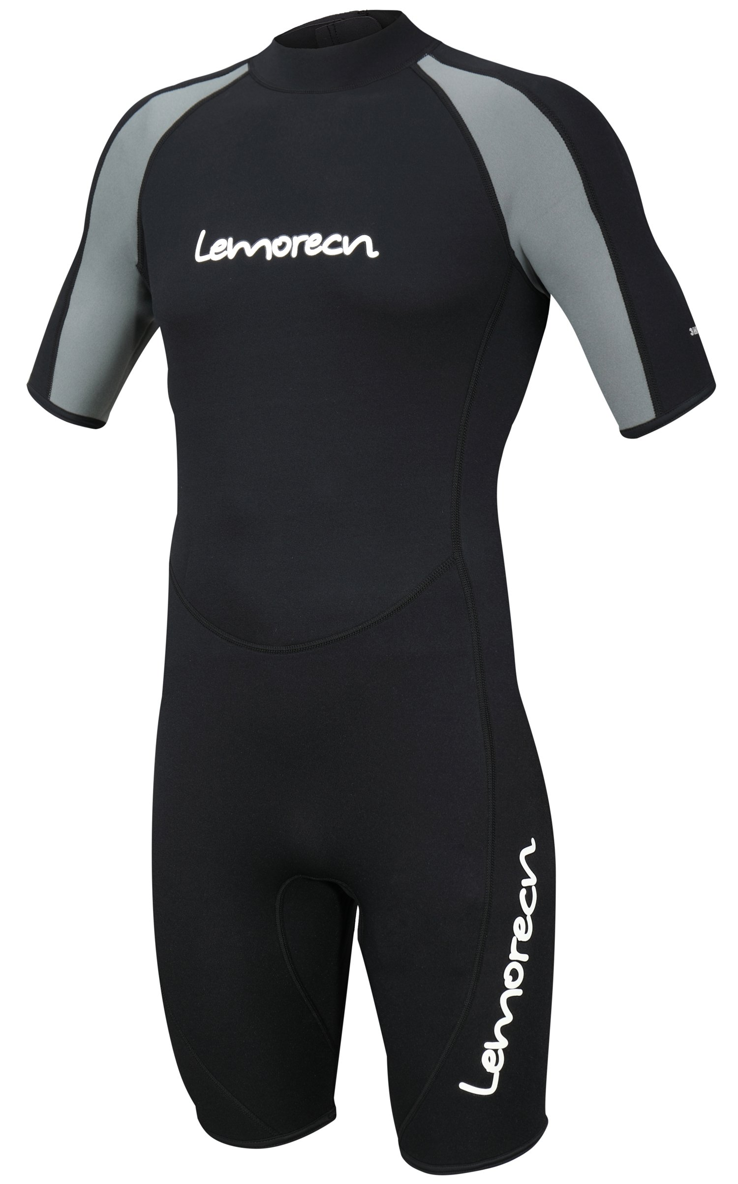 Lemorecn Wetsuits Mens Premium Neoprene Diving Suit 3mm Shorty Jumpsuit(3035blackgrey,L) by Lemorecn