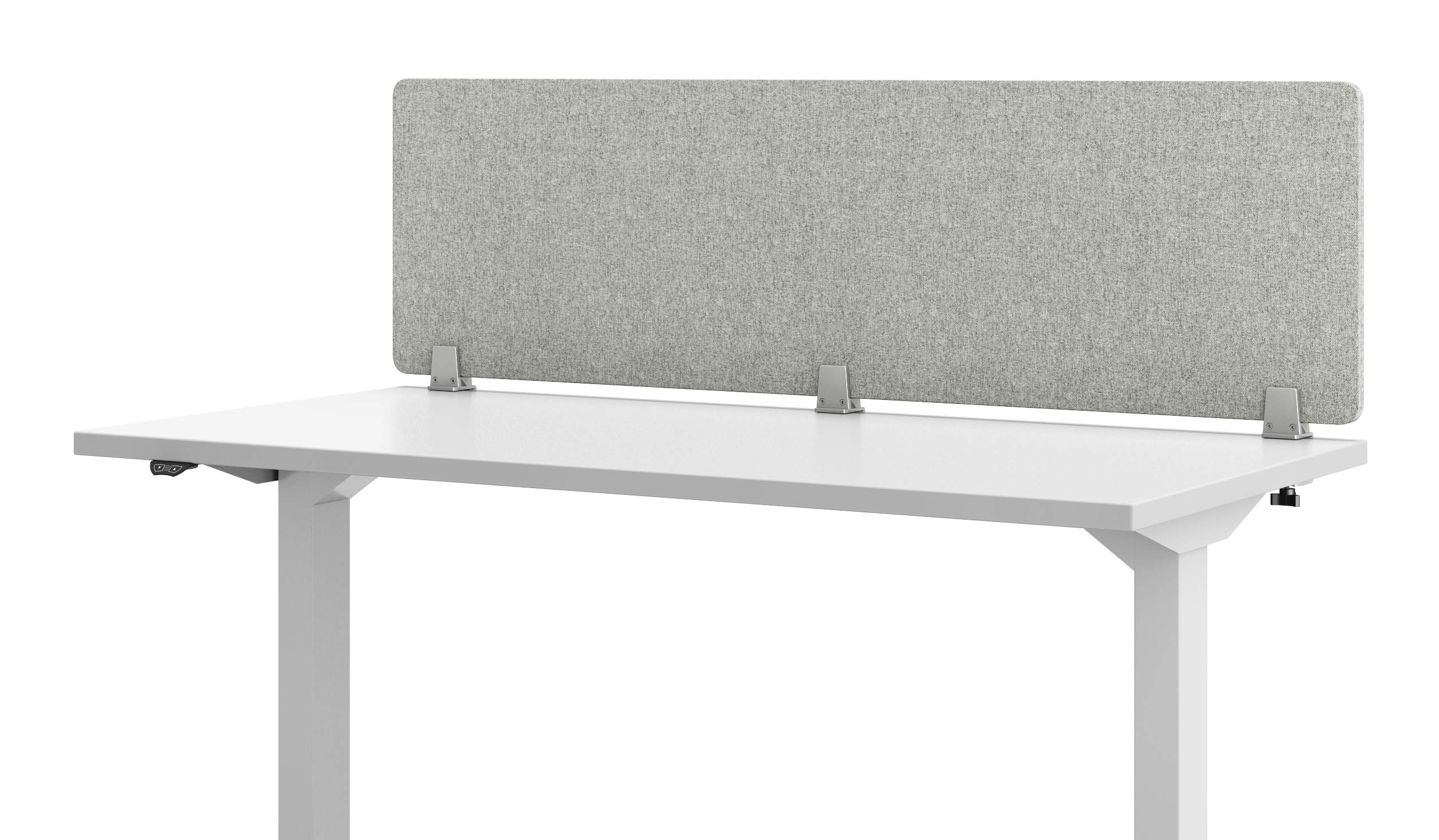VaRoom Acoustic Desktop Privacy Divider, 60''W x 18''H Sound Absorbing Clamp-on Cubicle Desk Divider Partition Panel in Light Grey Tackable Fabric