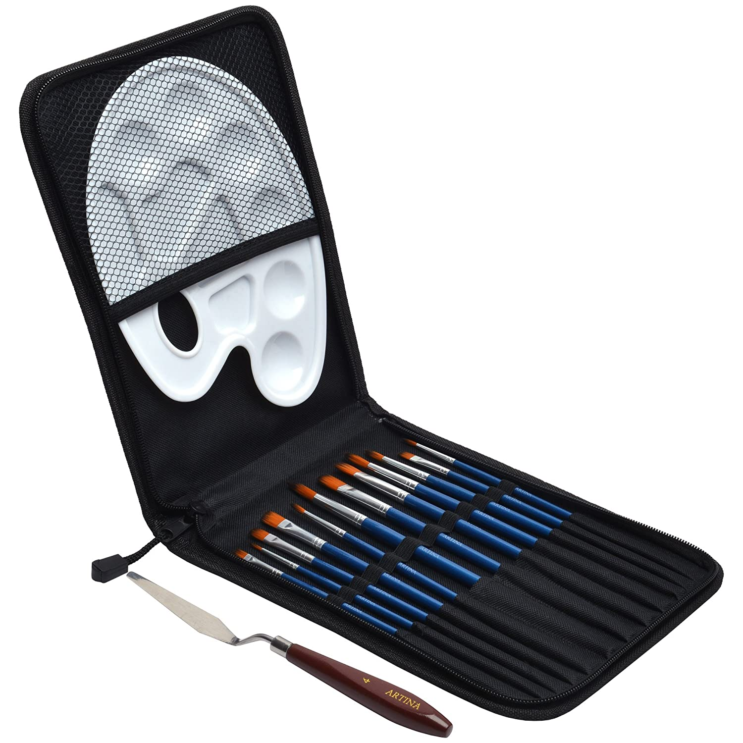 Artina 15pcs Bristle Brush Set Rome Artists Paint Brushes for Acrylic & Oil Painting incl. Case Pallet Brushes Spatula