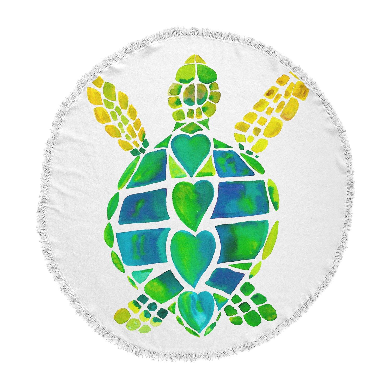 KESS InHouse Catherine Holcombe Turtle Love Green Teal Round Beach Towel Blanket