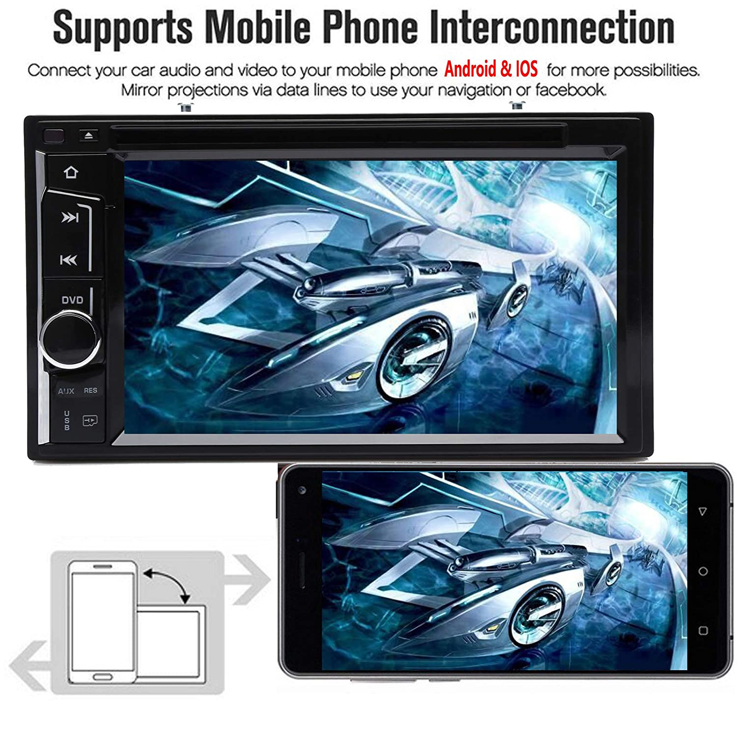 Amazon.com: Car Stereo DVD CD Player Radio Bluetooth Touchscreen 6.2