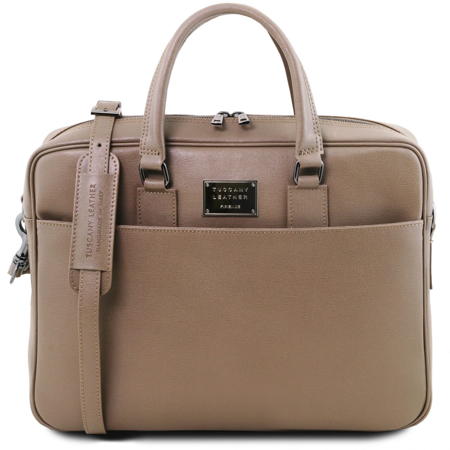 Tuscany Leather Urbino Saffiano leather laptop briefcase with front pocket Dark Taupe