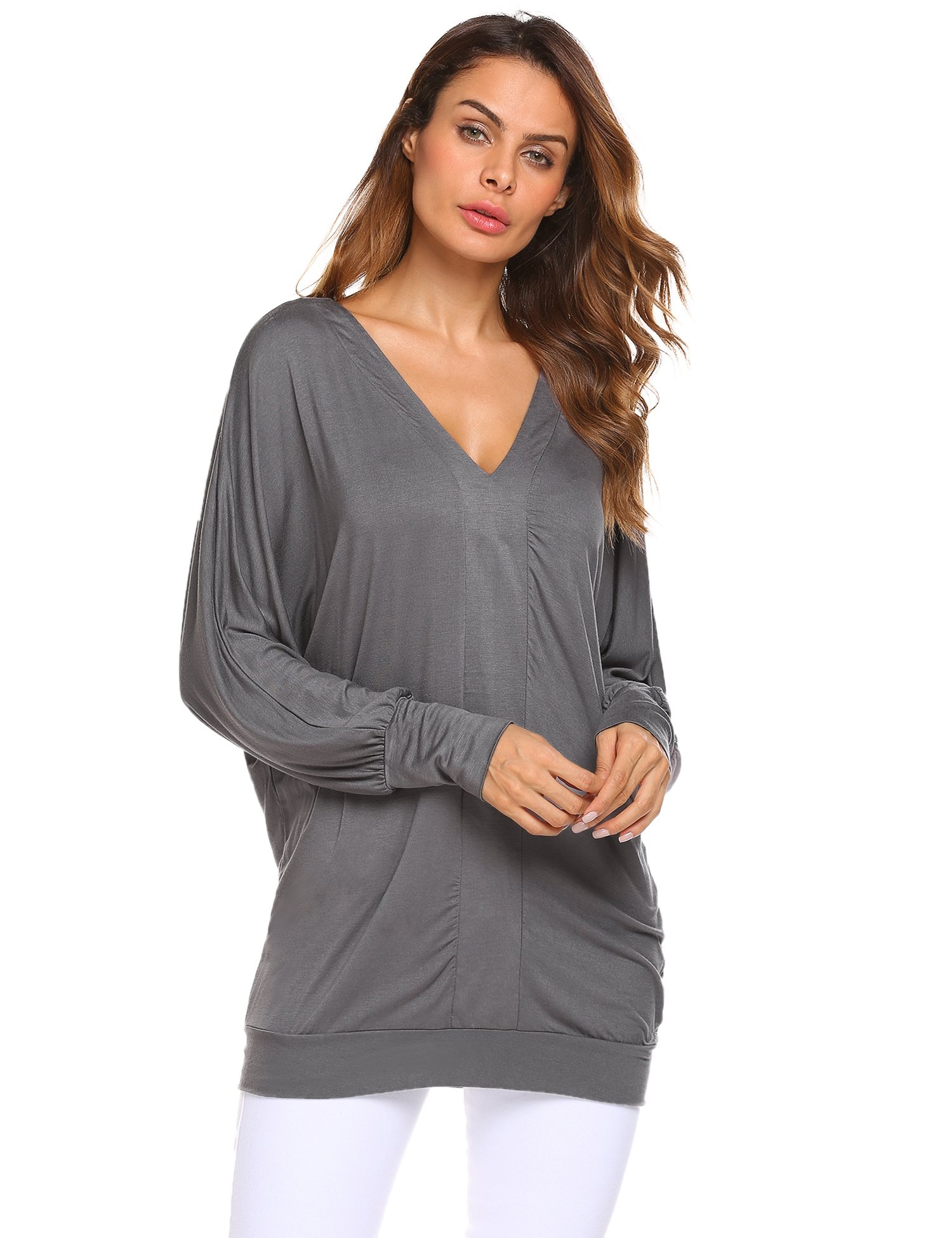 SummerRio V Neck Batwing Sleeve Ruffled Shoulder Solid Cotton Blouse
