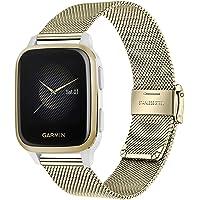 TRUMiRR bandjes compatibel met Garmin Venu/Venu Sq en Sq Music, horlogebandje geweven, metalen horlogeband met Quick…