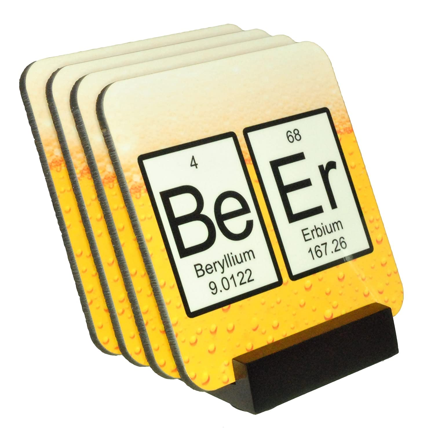 Amazon Com Beer Periodic Table Of Elements Coaster Set 4 Piece Cork Back Set Wood Holder Included Handmade