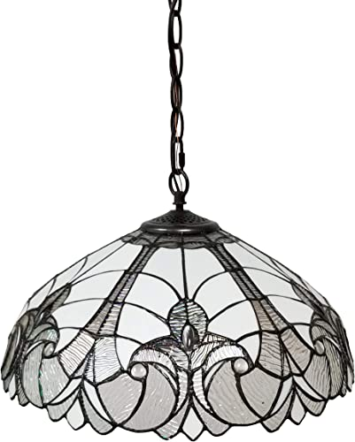 Amora Lighting Tiffany Style Hanging Pendant Lamp 18 Wide White Stained Glass Shade Antique Vintage 2 Light Decor Restaurant Game Living Dining Room Kitchen Gift AM206HL18, 90 Piece