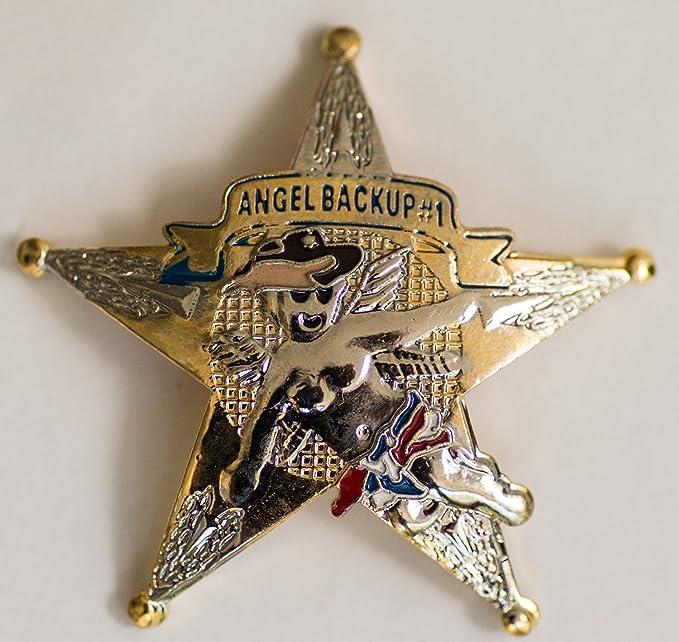 Art By Gunz Police//Sheriff 5-Point Backup Angel Lapel Pin