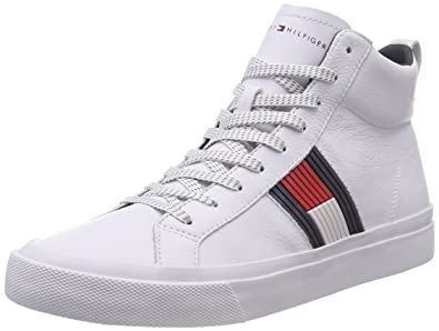 6211495ae6585 Tommy Hilfiger Men s Flag Detail High Leather Sneaker Low-Top (White 100)