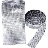(24 et 8 Rangées 20 Yard) 2 Rouleaux Ruban en Maille Strass en Diamant pour Deco Artisanat, Bricolage, Gâteaux de Mariage, DIY (Argent)