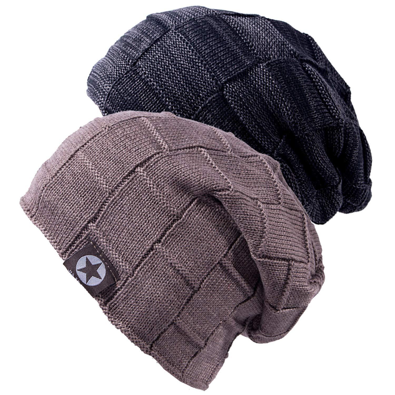Warme Winter Strickm/ütze mit Fleece Innenfutter Unisex Winterm/ütze MEHRWEG Chalier Slouch Beanie M/ütze Damen Herren