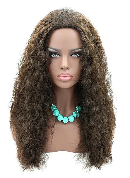 kalyss largo Afro Kinky rizado Bouncy Premium sintético peluca de pelo marrón