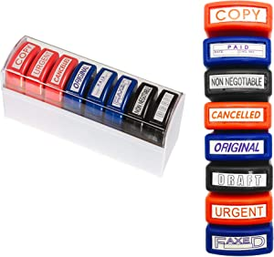 Reliancer Set of 8 Self Inking Pre-Inked Office Stamp 8 Message Account Stamp Office Stationary Stamper Business Paper Work Text Stamps w/Tray RedBlueBlack Ink