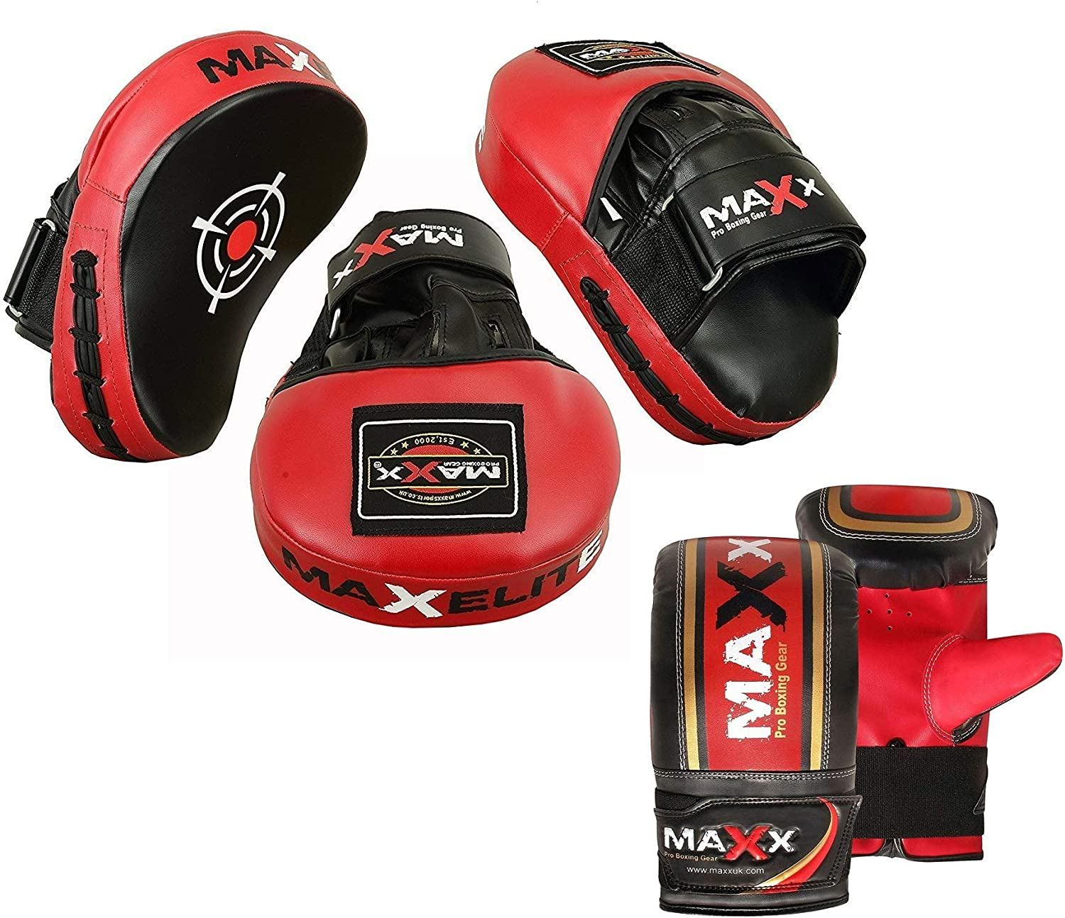 Blue//w Pads /& gloves Hook and Jab Strike Mitts Max Aero Gel Padded curved Smartie Focus Pads