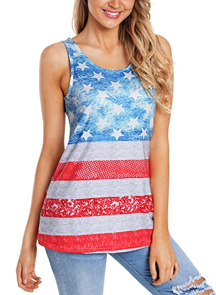 cf3a38defc Eytino Women Racer Back American Flag Tank Tops Sleeveless Loose Fit  Camisole Tunic,Small Light