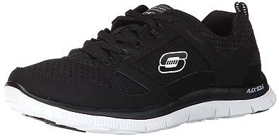 Skechers Sport Women's Flex Appeal Adaptable Fashion Sneaker,Black/White,6.5  ...