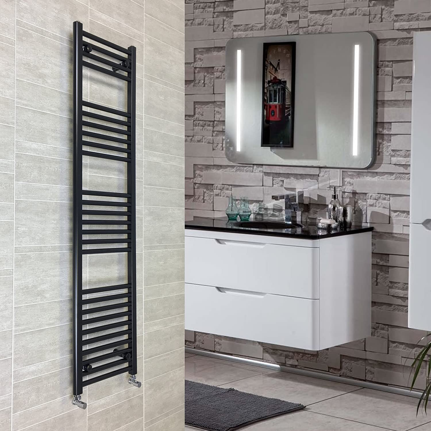 400mm Wide Black Heated Towel Rail Radiator Flat Ladder for Stylish Bathroom (400 x 800mm) CBRAD