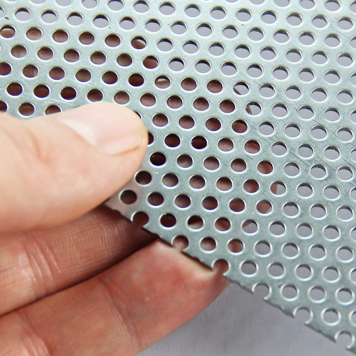 3mm Mild Steel Perforated Sheet (3mm Hole x 5mm Pitch x 1mm Thick) - A3 x 3 The Mesh Company