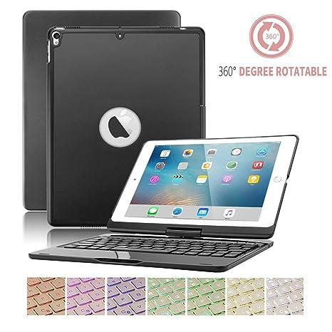 Funda de teclado iPad 9.7,SUAVER 360° rotación horizontal Wireless Keyboard Case con 7