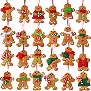 Amazon Com 24 Set Christmas Tree Ornaments Hanging Advent Calendar Ornaments Clay Figurine Ornaments Gingerbread Family Dolls Gingerman Ginger Bread Man Ornaments For Kids Gift Holiday Christmas Tree Decoration Kitchen Dining