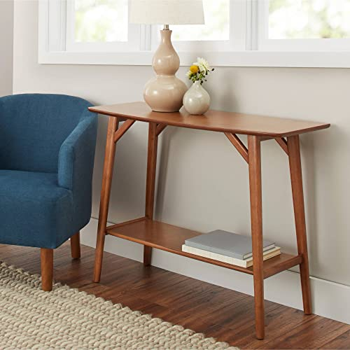 Better Homes Gardens Reed Mid-Century Modern Console Table, Pecan