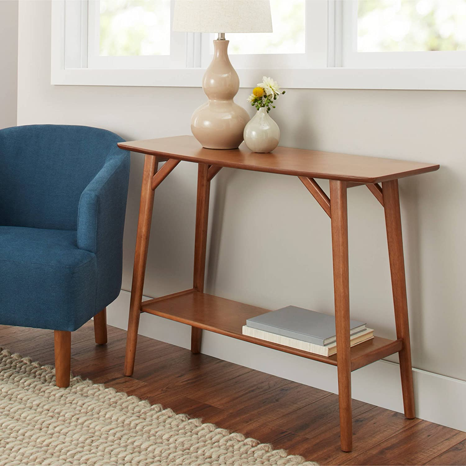 Bhg Reed Mid Century Modern Console Table, Pecan by Better Homes & Gardens