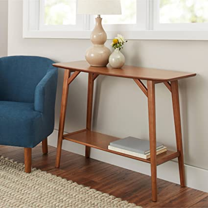 BHG Reed Mid Century Modern Console Table, Pecan