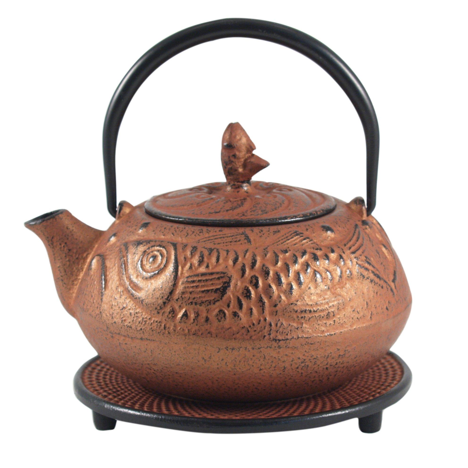 Bronze Cast Iron Fish Design Tetsubin with Trivet 20 ounces by BigKitchen