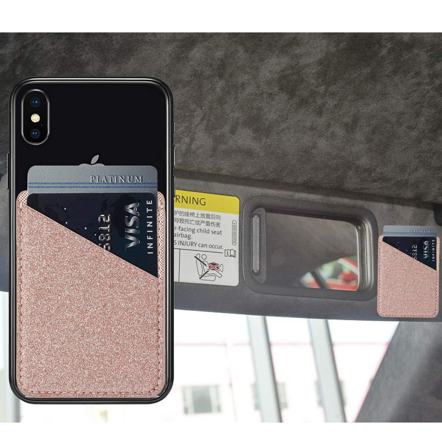 Rose//Gold Phone Card Holder Cell Phone Stick On Phone Glitter PU Leather Sleeve Credit for iPhone Samsung Most Smartphones