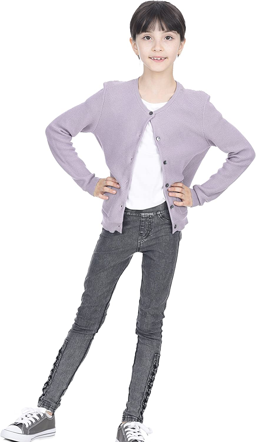 State Cashmere Cute Button Down Bow Pockets Cardigan Cashmere Cotton Long Sleeve Sweater for Girls