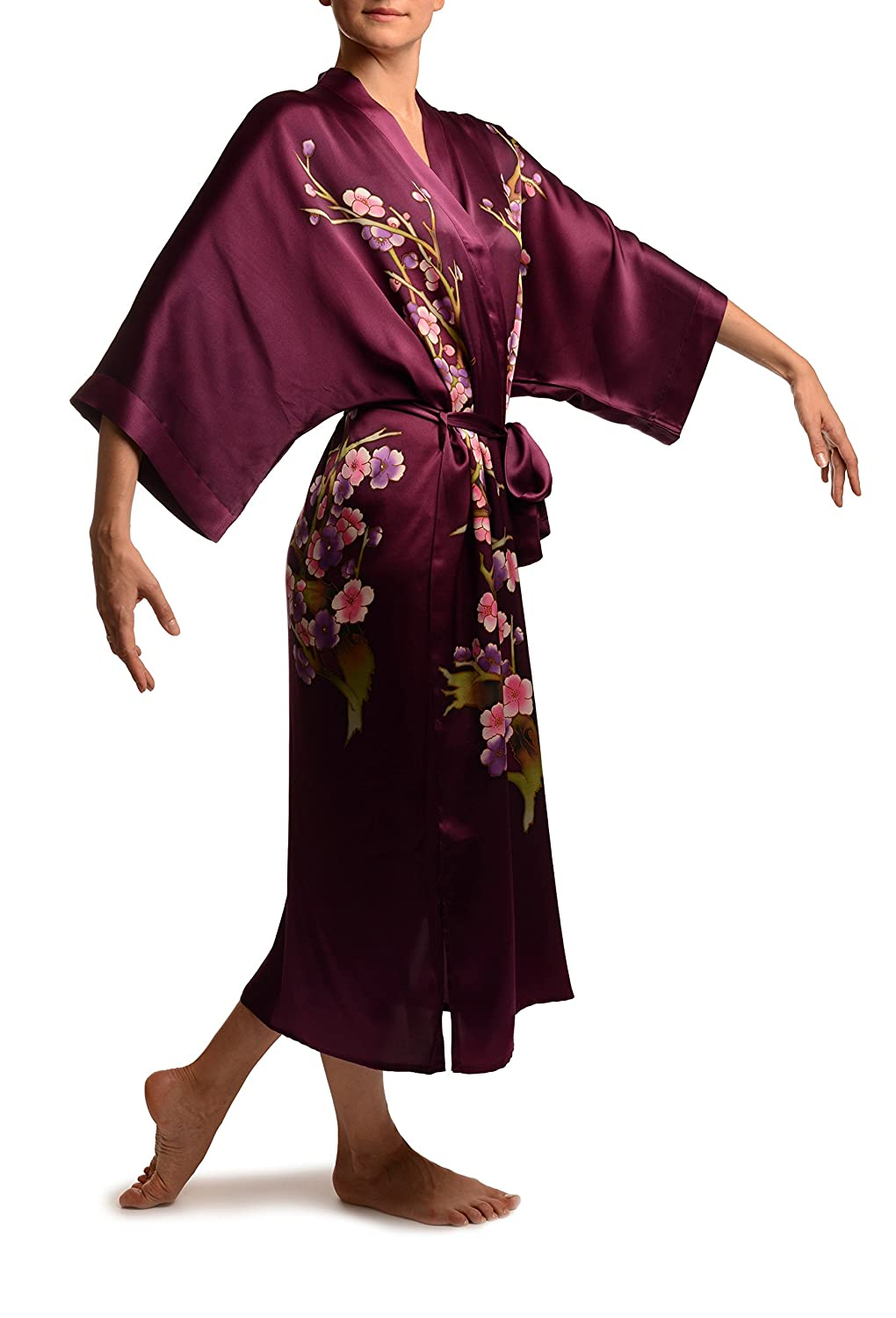 e7ef67eccb Purple With Sakura Bloom Luxurious Silk Dressing Gown (Robe) - Purple Floral  Dressing Gown  Amazon.co.uk  Clothing