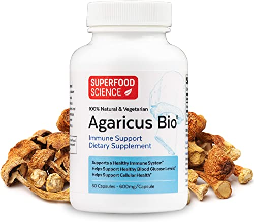 Superfood Science Agaricus Bio, Agaricus Blazei Immune System Booster Mushroom Supplement, Organic Agaricus Blazei Mushroom Powder Capsules for Immune Support, Non-GMO, 600 mg, 60 Veggie Capsules