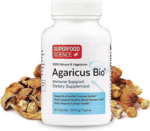 Superfood Science Agaricus Bio, Agaricus Blazei Immune System Booster Mushroom Supplement, Organic Agaricus Blazei Mushroom Powder Capsules for Immune Support, Non-GMO, 600 mg, 60 Veggie Capsules