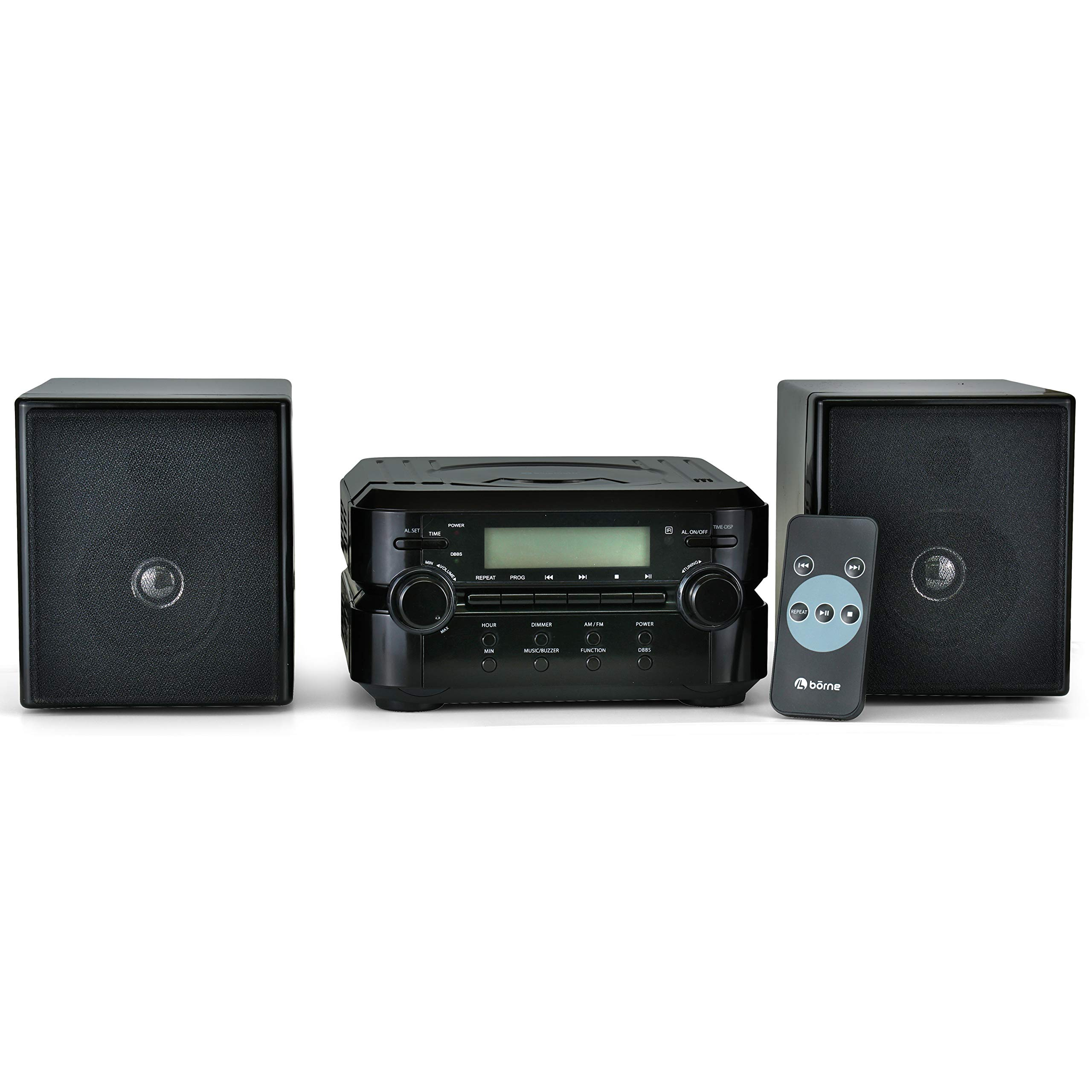 Borne Compact CD Player Stereo Home Music System with Remote AM/FM Tuner Bluetooth Compatible