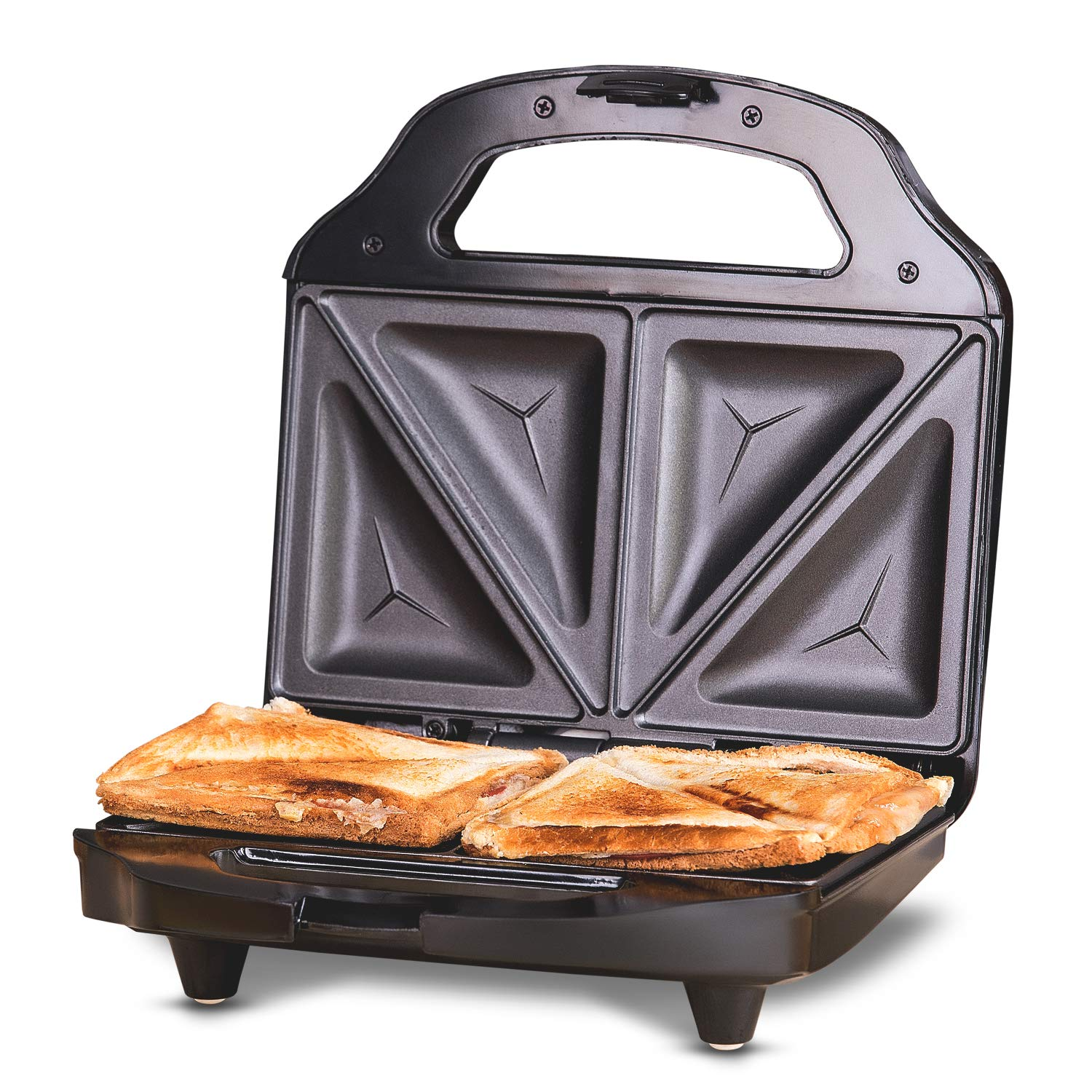 Cooks Delicious Crispy Sandwiches Geepas 800W 2 Slice Sandwich Maker Breakfast Sandwiches /& Cheese Snack 2 Years Warranty Cool Touch Handle Automatic Temperature Control and Non-Stick Plate