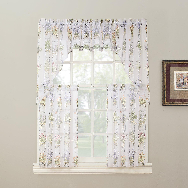 Amazon No 918 Eve s Garden Floral Print Kitchen Curtain