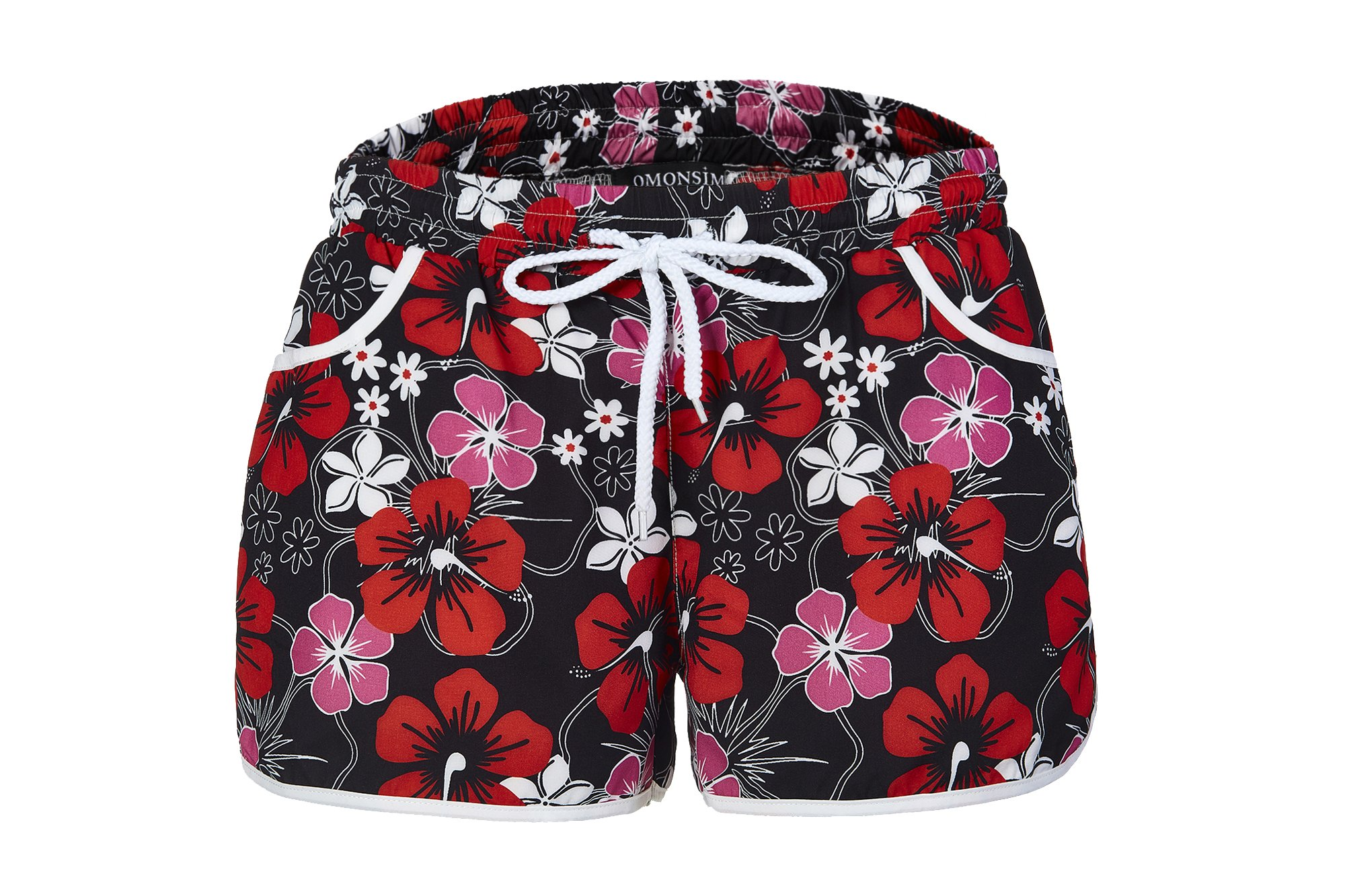 New Women's Floral Boardshort Elastic Waistband Beach Shorts with Drawstring (XX-Large, Red)