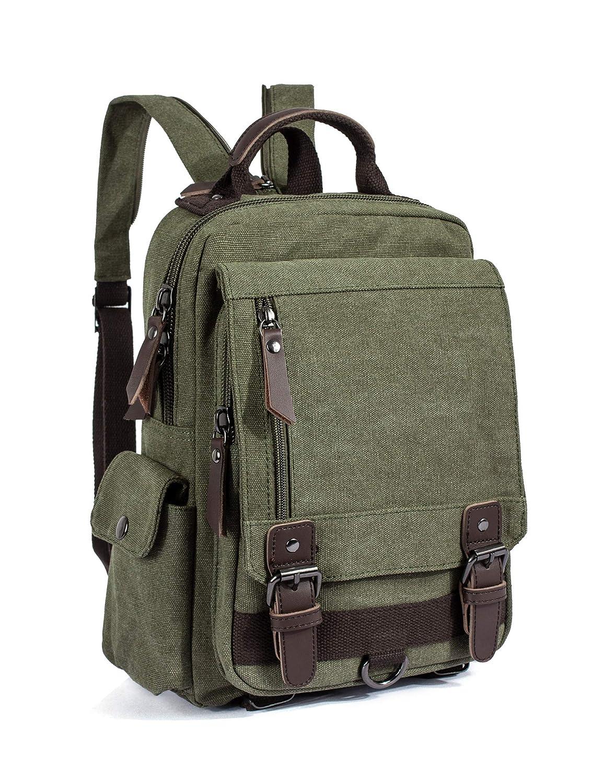 Leaper Retro Canvas Messenger Bag Backpack Travel Bag Cross Body Bag Army green
