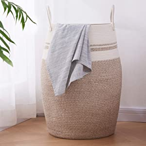"OIAHOMY Laundry Hamper Woven Cotton Rope Large Clothes Hamper 25.6"" Height Tall Laundry Basket with Extended Cotton Handles for Storage Clothes Toys in Bedroom, Bathroom, Foldable (Yellow Variegated)"