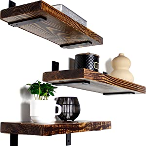 "Wood Floating Shelves - 3 Tier Rustic Wall Shelf 17 inch Solid Wood, Oil Finish, Wooden Wall Mounted Farmhouse Shelves for Kitchen, Bedroom, Bathroom, Living Room (Walnut, 17"" x 5.9"")"