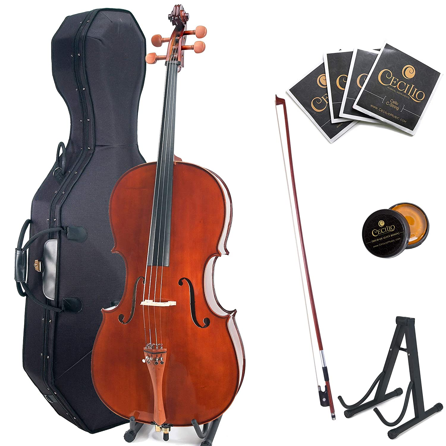 Cecilio CCO-300 Solid Wood Cello with Hard & Soft Case, Stand, Bow, Rosin, Bridge and Extra Set of Strings, Size 4/4 (Full Size) Cecilio Musical Instruments 4/4CCO-300
