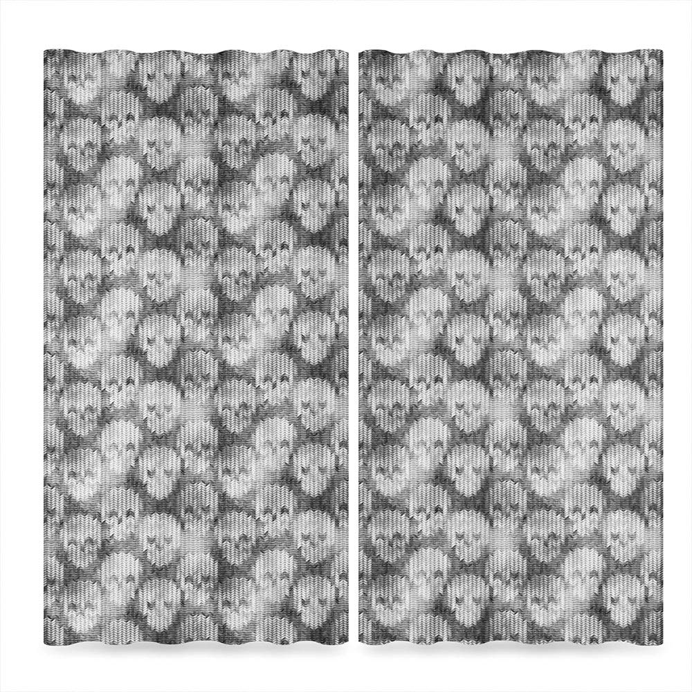 Decor Collection,Skulls Decorations for Living Room,Knitting Texture with Brainpan Head Bone Pattern,196Wx83L Inches by TecBillion (Image #2)