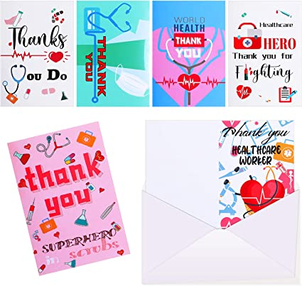 36 Pieces Nurse Appreciation Card Healthcare Workers Thank You Card Medical Themed Appreciation Cards for Nurses, Doctor, Medical Staff, 6 Designs (envelopes are not Included)