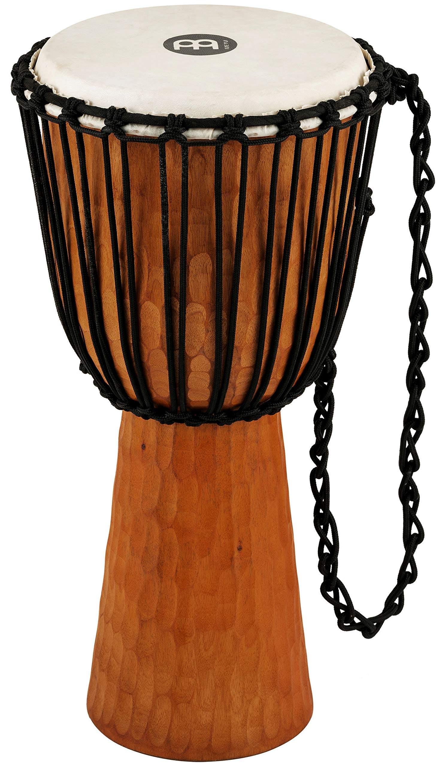 Meinl Percussion Djembe with Mahogany Wood-NOT Made in CHINA-12 Large Size Rope Tuned Goat Skin Head, 2-Year Warranty, Brown, 12'' (HDJ4-L)