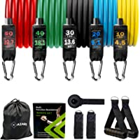 Mazari Resistance Bands Set 11 Pieces,tube Band Stakable Up to 150lb Workout Bands With Door Anchor,handle & Ankle…