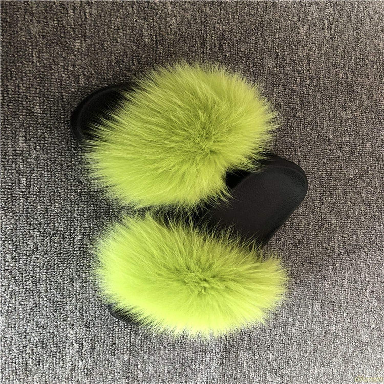 Fox Hair Slippers Women Fur Home Fluffy Sliders Plush Furry Summer Flats Sweet Ladies Shoes Large Size 45 Cute Pantufas,Fox Hair,8.5