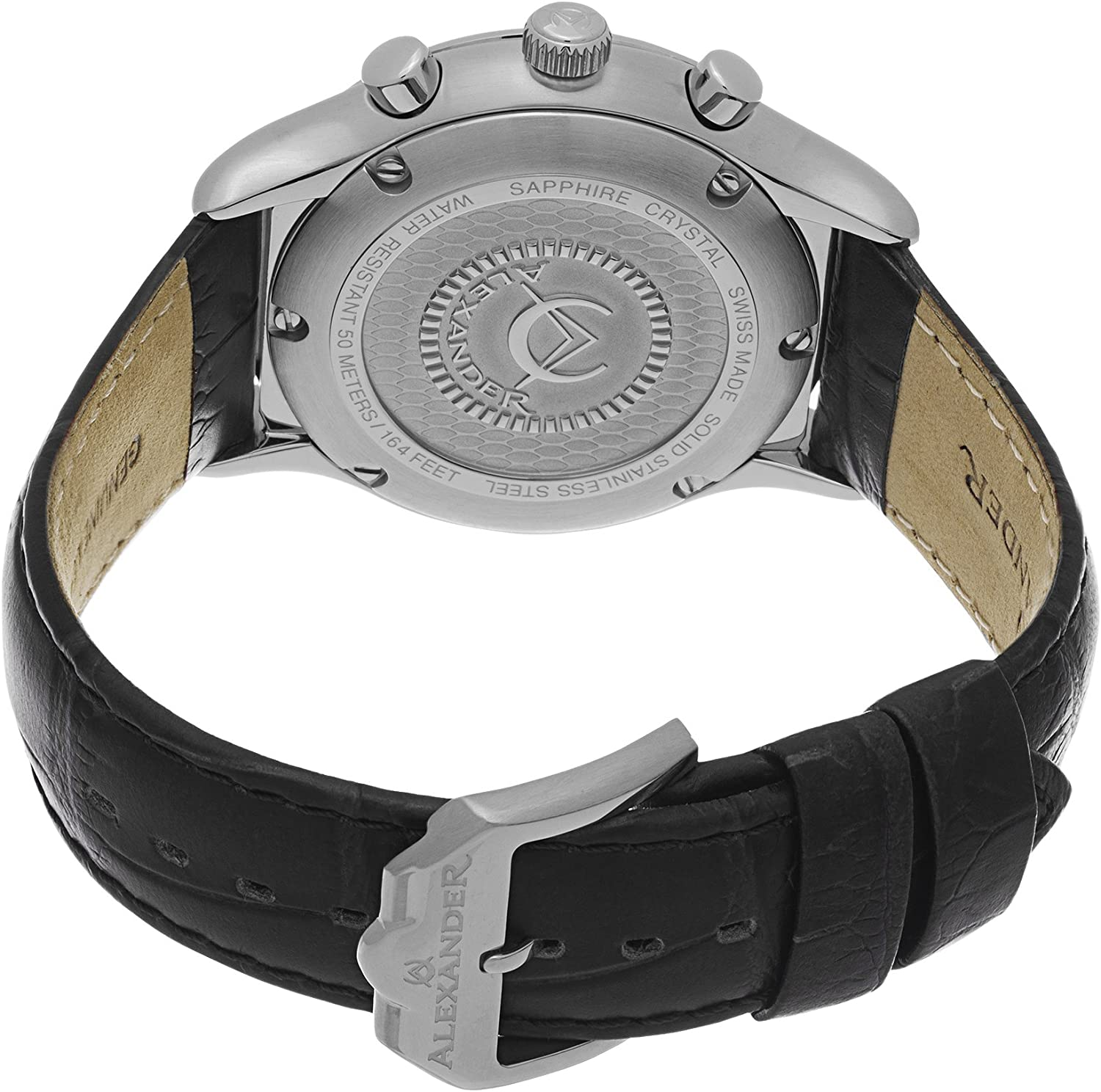 Alexander Heroic Pella Men s Multi-Function Chronograph Silver Dial Black Leather Strap Swiss Made Watch A021-02