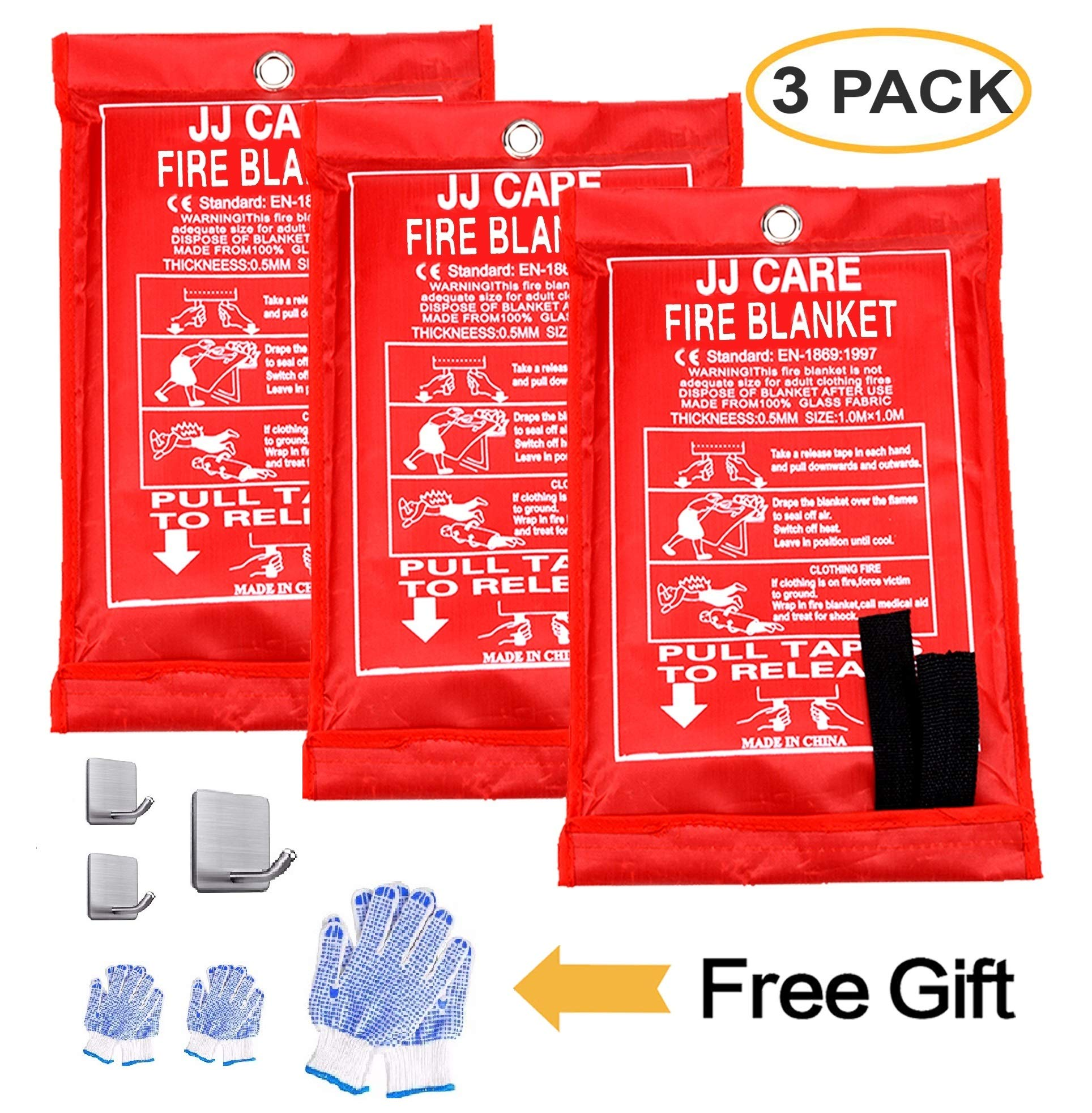 [Pack of 3] Fire Blanket Fire Suppression Blanket with Fire Protective Gloves and Hooks -Suitable for Camping, Grilling, Kitchen Safety, Car and Fireplace Retardant Blanket for Emergency by JJ CARE