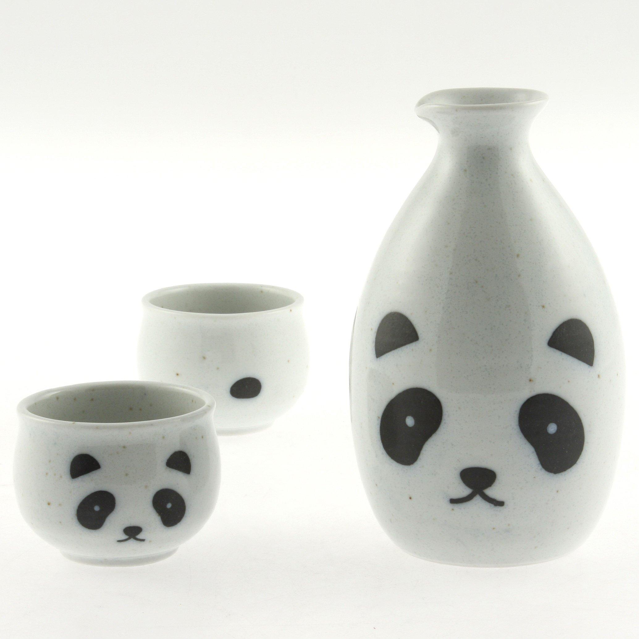 Japanese Calligraphy Sake Set, 1:2 White Panda