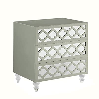 Iconic Home Mercanti Nightstand Side Table With 3 Self Closing Mirrored  Drawers Lacquer Acrylic Legs,